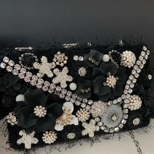 Handbags - Black evening clutch with pearl details on